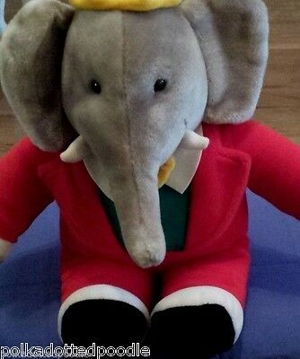 Gund 14 Babar The Elephant Stuffed Animal Plush 1988 Red Suit