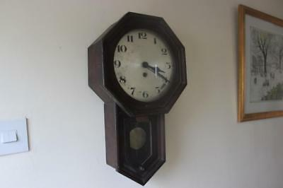 Late 19th Early 20thC Wall Clock Sold As Spares Or Repair But Is Running