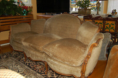 Gorgeous Shabby Chic chenille down/ feathers sofa couch new fabric carved wood