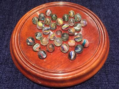 Large Victorian / Edwardian JAQUES London Mahogany Solitaire Board & Marbles EXC