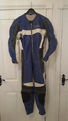 HEIN GERICKE ONE PIECE MOTORCYCLE LEATHER SUIT Blue/black/white SIZE 48
