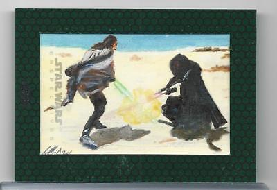 Topps Star Wars Chrome Perspectives Sketch Painted Color Sol Mohamed Maul Duel