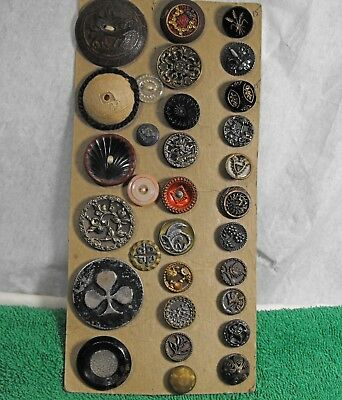 vintage lot 31 old antique buttons metal glass wood enameled various sizes NICE!