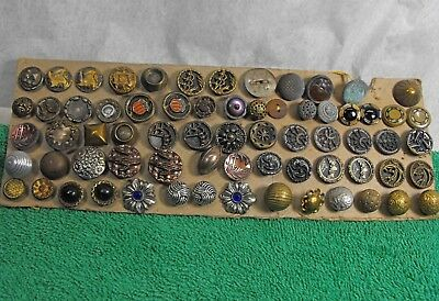 vintage lot 68 old antique small buttons mostly metal glass various sizes nice