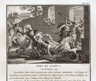 Death of Publius Clodius Pulcher-King of the Streets-1810 Copper Roman Engraving