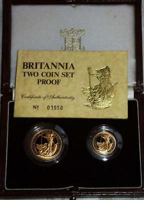 Superb 1987 GOLD BRITANNIA 2 coin PROOF set FREE POSTAGE see both images