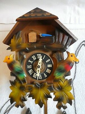 Vintage Cuckoo Clock with pine weights
