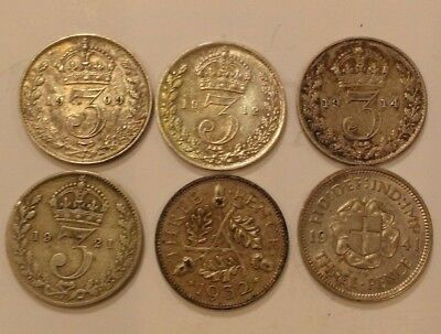 Lot of 6 Great Britain Silver Threepence, 09', 12', 14', 21', 32', 41'