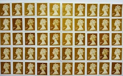 50 x 1st Class Gold Security Stamps First. Unfranked off Paper with Some Gum