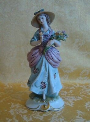 Vintage Capodimonte ~ Girl With Flowers Figurine By Tyche Tosca