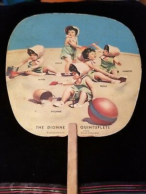 Vintage Advertising Hand Fan Dionne Quintuplets East Brooklyn Ny Savings Bank
