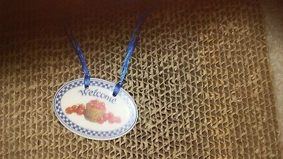 LONGABERGER Pottery TIE ON - WELCOME - Porcelain Tag for Basket