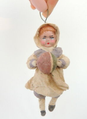Vintage Antique Hand Made Russian Soviet USSR Paper Mache Christmas Doll Girl #