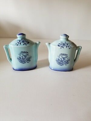 Wild life of Canada teapot salt and pepper shakers blue with moose's