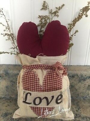 Primitive Valentines Day Heart Love Sack Shelf Sitter Country Decor