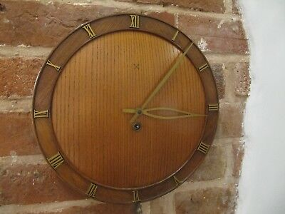 Vintage HAC Junghans Round Wooden Wall Clock. 8 Day Movement. Full Working Order