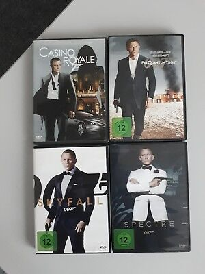 4x James Bond 007 Daniel Craig Casino Royal Skyfall Quantum Trost Spectre DVD