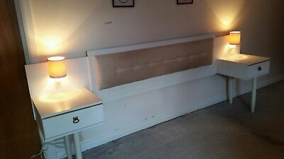 Vintage/Retro 1970's Bed Headboard/Bedside Tables with Lighting. Quality Item.