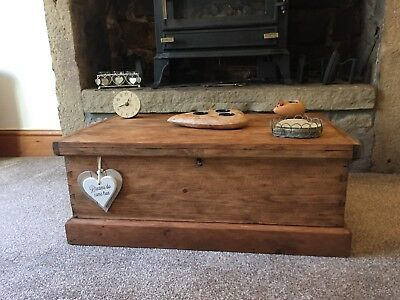 Old PINE CHEST, Small Wooden TRUNK, Storage, Rustic, Coffee TABLE, Vintage Box