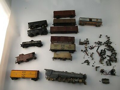 Old Metal Steam Locomotive & Coal Car Plus Wooden and Steel Rail Cars & parts