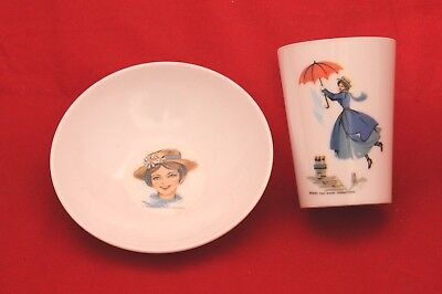 Nice 1964 Vintage Mary Poppins Cup And Bowl Walt Disney Productions Sun Valley