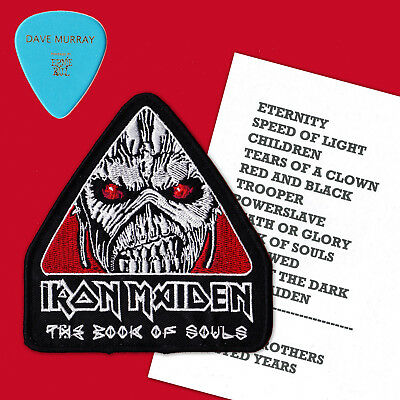 IRON MAIDEN - 2016 Book of Souls DAVE MURRAY GUITAR PICK, Ch 1 SET LIST & PATCH.