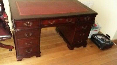 Antique style regency reproduction large desk and chair
