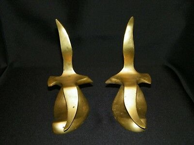 Old Vintage Pair Of Heavy Brass Mid Century Modern Sea Gull Bookends Beach House