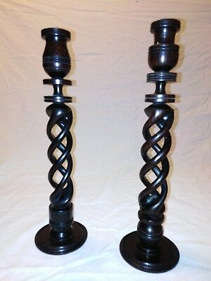 Pair Of Vintage Wooden Candlesticks With Open Barley Twist