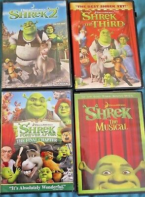 Lot of 4 Shrek DVD Movies, 2nd, 3rd, final and Shrek the Musical