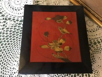 Gorgeous Antique Japanese Lacquered Hand painted Glove Box #4599