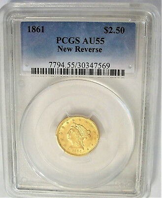 PCGS-Certified, AU55, 1861 (New Reverse) Gold $2.50 Quarter Eagle Coin