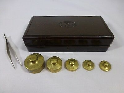 ANTIQUE Apothecary Balance Weight Set - Bakelite Townson & Mercer ORIGINAL Case