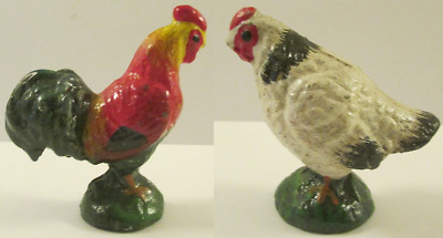 A Great Pair Vintage Cast Iron Rooster & Hen Paperweights