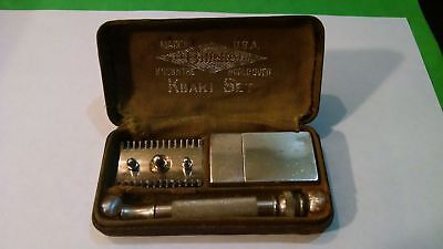 "Vintage Razor--Gillette Khaki Set ""Property U.S. Army"" with Blade Holder and Bla"