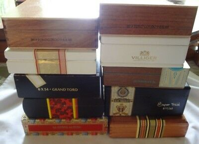 Mixed Lot of 10 LARGE wooden cigar boxes all hinged lot # 135
