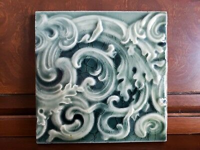 """Antique Late 1800's Kensington Clay Art Tile, 6"""" Square, Green Floral Leaf Swirl"""