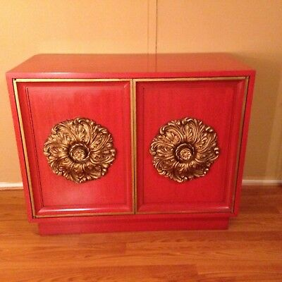 Mid Century HOLLYWOOD REGENCY James Mont Style Cabinet Credenza GOLD MEDALLIONS