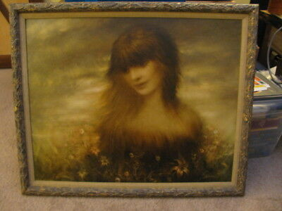 Vintage Portrait of Young Girl Surrounded by Flowers
