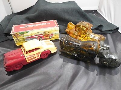 Avon Glass Lot of 3 Collectible Bottles/48 Chrysler/Motorcycle/Packard Roadster