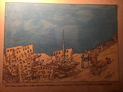 Rare Large Original Signed Comic Illustration Art Computer Subject from 1969!