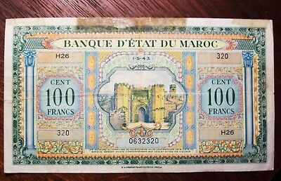 1943 Morocco 100 Francs Banknote