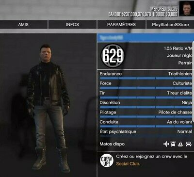 GTA 5 MODDED account (ps4 only) level 629 with 237 billion, if interested  PM me