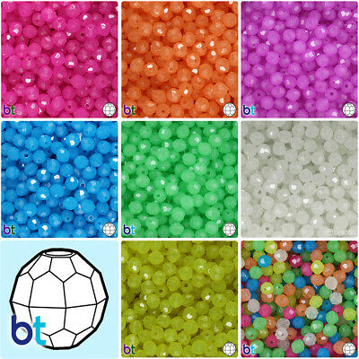BeadTin Glow 8mm Faceted Round Plastic Craft Beads (450pcs) - Color choice