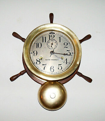 Seth Thomas Ships Bell Clock with External Bell on Ships Wheel - Working Well!