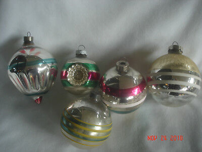 MIXED LOT 5 Vtg. STRIPED BLOWN Mercury GLASS ORNAMENTS 1 INDENTED SHINY BRITE