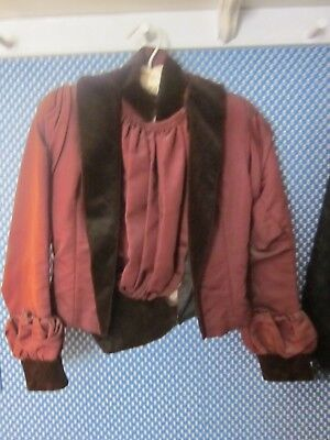 Antique Victorian Bodice Jacket Brown Velvet and Taffeta Late 1800's Beautiful!