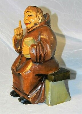 "~ HAND CARVED WOOD MONK Friar VINTAGE FIGURAL Hand Painted CHARACTER 7"" ~"