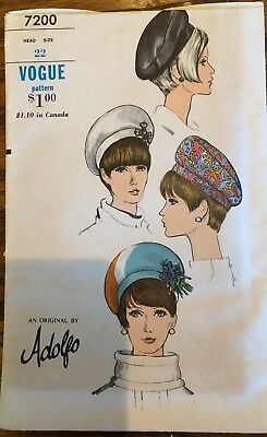 Vintage Vogue Designer Adolfo Millinery Hat Beret Fabric sewing pattern # 7200