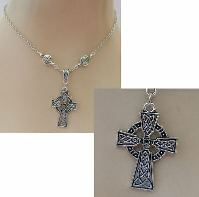 Cross Necklace Silver Celtic Pendant Jewelry Handmade NEW Adjustable Fashion